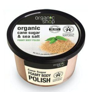 Exfoliante corporal caña de azúcar orgáncia & sal marina Organic Shop
